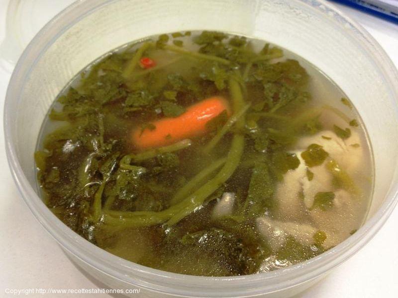 Soupe au veau et cresson
