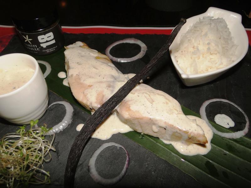Ha'ura grillé à la sauce vanille de Tahiti