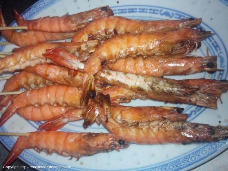 Brochettes de crevettes à l'huile de coco