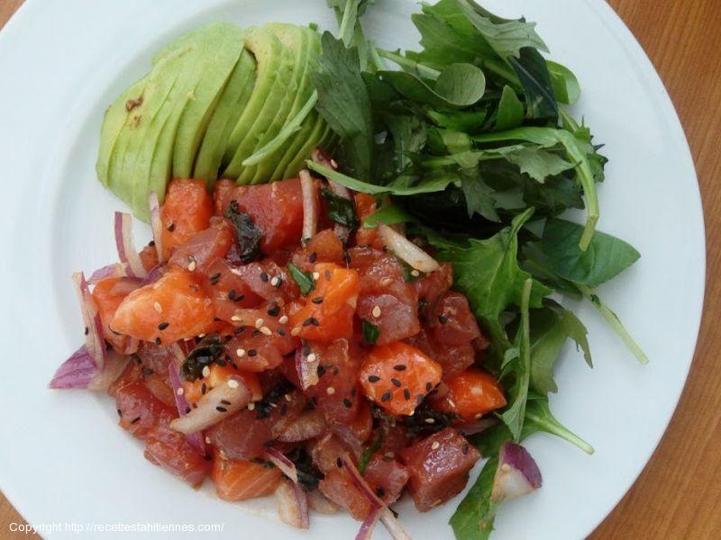 Poke de thon et saumon aux algues wakamé